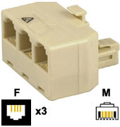 Adaptor: 6P4C Male - 6P4C Female x3