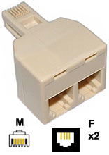 Adaptor: 6P4C Male - 6P4C Female x2