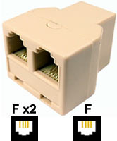 Adaptor: 6P4C Female - 6P4C Female x2