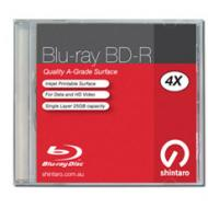 Shintaro BD-R Blu-ray 25GB 4X IJ single layer jewel case, wide inkjet printable surface. [MX-DX2GMP(A22)THK]