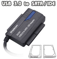 SimpleCom USB 3.0 to SATA/IDE Converter Cable, [SA391], One-Touch-Backup Button