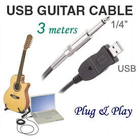 1/4 inch TRS Jack to USB Link Cable for Guitar / Bass / Keyboard,  Built-in Sound Card, PC / Mac compatible, 3 meters Shielded Cable