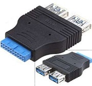 USB 3.0 20-pin Plug to 2x USB A Receptacle Adapter