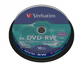 Verbatim 10PK DVD-RW 4.7GB  SPINDLE 4X REWRITABLE