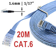 CAT.6 Flat Patch Cable 20m straight, 1.35mm Thickness