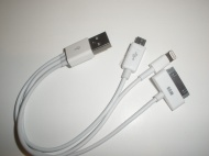 4 in 1 Cable; USB + iPhone4/5 + Samsung pad
