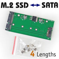 M.2 NGFF SSD Drive to SATA III Converter, 6-pin B key notch, 4 lengths