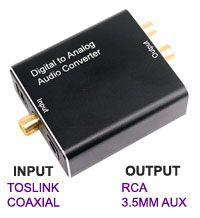 Digital Toslink Optical Input to RCA Analogue Audio Output Converter, [T609]