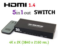 HDMI Ver 1.4 5x1 Switch with Remote, [T-306A], 5 i...