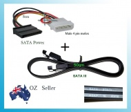 SATA 3 III Data Cable + 4 Pin male Molex to SATA P...