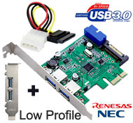 SSU USB 3.0 2 Back + 2 Ports via 20-pin Internal Connection PCI-e Card, [ACS-U3N14S], NEC / Renesas Chipset, Full & Low Profile, Molex to SATA Power Cable