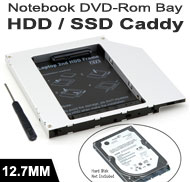 "2.5"" SATA HDD/SSD Caddy / Cradle / Tray for Replacement of Notebook 12.7mm SATA Optical Drive"