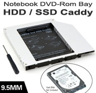 "2.5"" SATA HDD/SSD Caddy / Cradle / Tray for Replacement of Notebook 9.5mm SATA Optical Drive"
