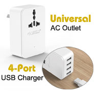 Orico Universal AC Power Outlet Surge Protector + 4-Port USB Charger, [S4U-TAU], AC: 110~250V / 10A, USB: 20W Max 2.4A