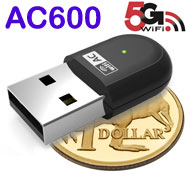 AC600 WiFi Dual Band 5G / 2.4G USB Adapter / Dongle, [WN691A1], Windows / Mac / Linux