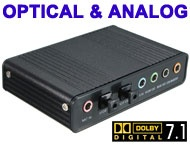 USB 5.1 / 7.1 Channels Sound Card Adapter with Optical Out & In, Dolby Digital Supported