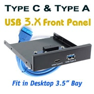 "USB 3 Type C & Type A Port Front Panel, [LA251-1A1C], Fits Desktop 3.5"" (Floppy) Bay"