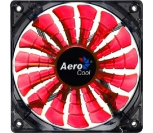 Aerocool Shark Fan 12cm-Red w/ LED, 15-Blade Desig...