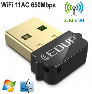 EDUP 11AC 600Mbps Dual-Band USB Adapter, [EP-AC1619], Win / Mac / Linux
