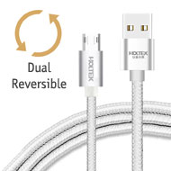 Holtek Reversible micro USB Charging / Data Cable, USB Type A - micro B, 2.1A, Braided, Aluminium Housing, 1M Length