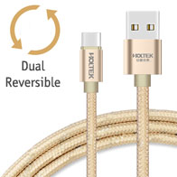 Holtek Reversible micro USB Charging / Data Cable, USB Type A - micro B, 2.1A, Braided, Aluminium Housing, 1.5M Length