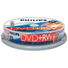 PHILIPS DVD+RW Rewritable 4.7GB 4X (Tube of 10pcs)