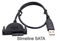 USB 2.0 to Slimline SATA (7+6 pins) Connect Cable for Notebook CD-Rom