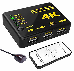 4K 5-in 1-out HDMI Switch with Remote, [SY-501], 3840*2160p Supported