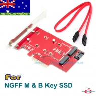 M.2 NGFF B & M Key SSD to PCI-E 4x Card + SATA Converter, [LM-412N], 4 Length