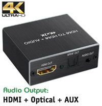 HDMI Audio Extractor - Outputs HDMI / Optical Toslink / AUX 3.5mm Stereo, 4K*2K, Aluminium Body